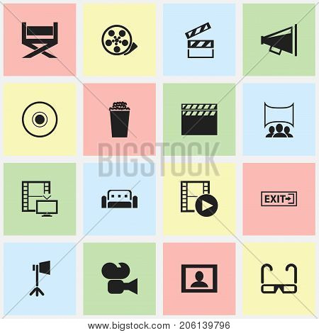 Set Of 16 Editable Movie Icons. Includes Symbols Such As Episode, Camcorder, Screen And More
