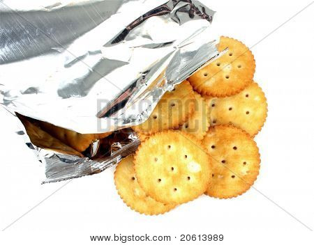 Salted crakers with silver bag