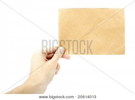 Woman holding a piece of recycled paper - Insert text here