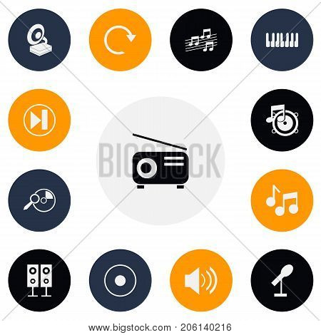 Set Of 13 Editable Mp3 Icons. Includes Symbols Such As Melody Seeking, Journalism Equipment, Forward And More