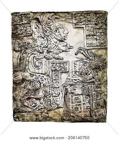 Bas-relief carving with of a Quetzalcoatl, pre-Columbian Maya civilisation. Sketch with colourful water colour effects