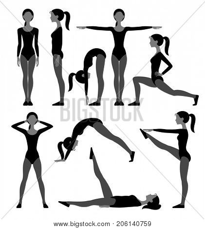 Silhouette set of slim girl in fitness suit doing exercises isolated on white in flat style