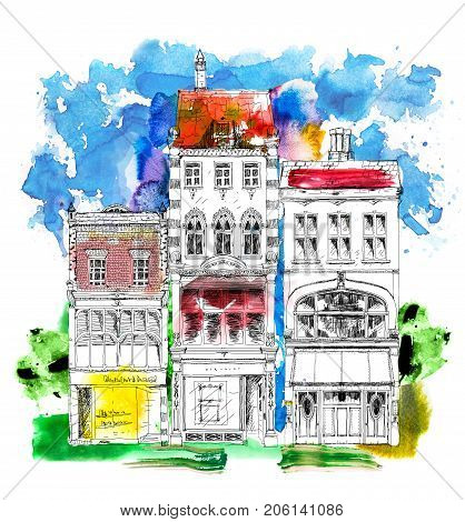 Old English town houses with small shops or business on ground floor. Bond street, London. Sketch with colourful water colour effects