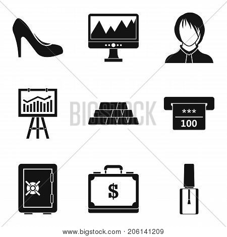 Calculation of finance icons set. Simple set of 9 calculation of finance vector icons for web isolated on white background
