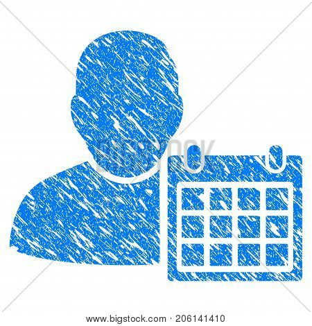 Grunge User Schedule Calendar icon with grunge design and scratched texture. Unclean vector blue User Schedule Calendar pictogram for rubber seal stamp imitations and watermarks. Draft sticker symbol.