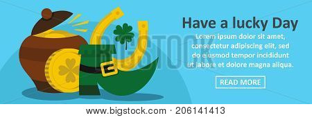 Have a lucky day St Patrick banner horizontal concept. Flat illustration of have a lucky day St Patrick banner horizontal vector concept for web design