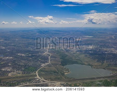 Aerial View Of Cherry Creek Reservoir, View From Window Seat In An Airplane