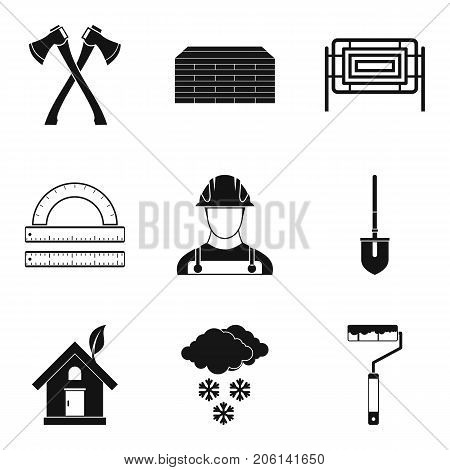 External finishing icons set. Simple set of 9 external finishing vector icons for web isolated on white background