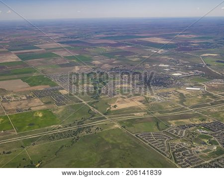 Aerial View Of Aurora, View From Window Seat In An Airplane