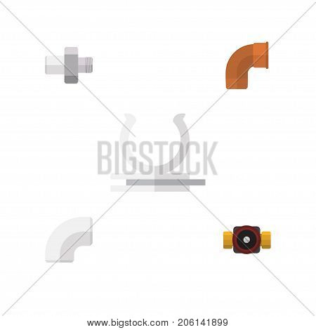 Flat Icon Industry Set Of Conduit, Tap, Iron And Other Vector Objects