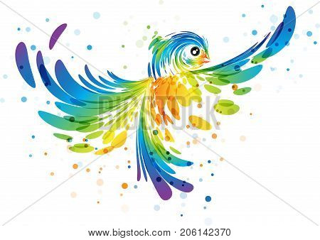 Abstract futuristic colorful bird in flight on white background