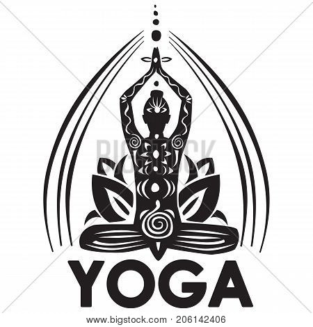 Girl in lotus yoga pose with black and white ornament