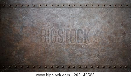 rusty metal background with rivets 3d illustration