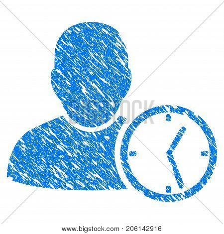 Grunge User Temporary Clock icon with grunge design and scratched texture. Unclean vector blue User Temporary Clock pictogram for rubber seal stamp imitations and watermarks. Draft sign symbol.