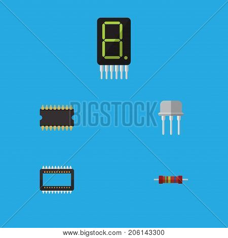 Flat Icon Appliance Set Of Mainframe, Resistance, Resist And Other Vector Objects