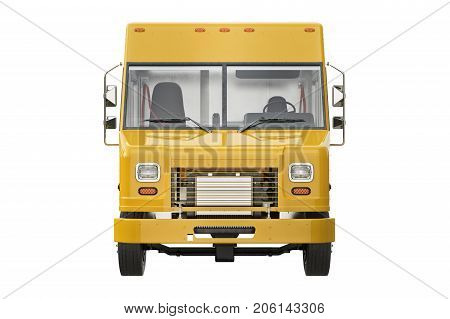 Food truck eatery, front view. 3D rendering