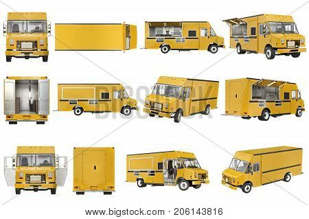Food truck eatery cafe on wheels set. 3D rendering