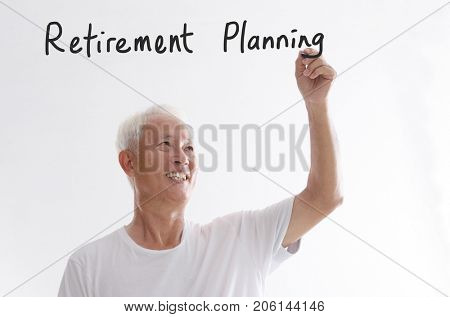 Portrait of old Asian man hand writing, retirement planning concept, isolated on white background.