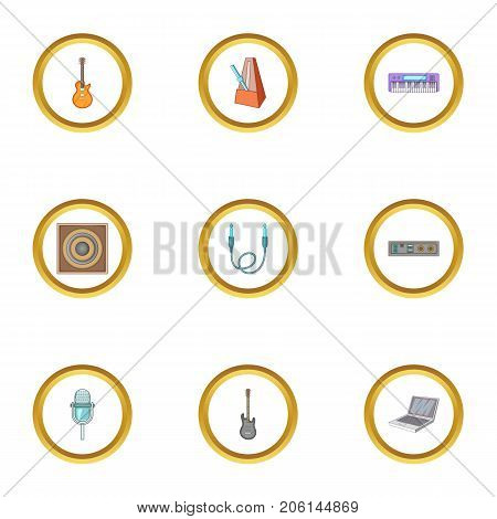 Music recording icons set. Cartoon style set of 9 music recording vector icons for web design