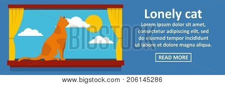Lonely cat banner horizontal concept. Flat illustration of lonely cat banner horizontal vector concept for web design
