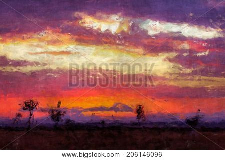 Digital painting of the sunrise over the Masai Mara, Kenya. Trees silhouetted against the hills of the Oldoinyio escarpment. Orange and purple tones in  a loose and free palette knife style.