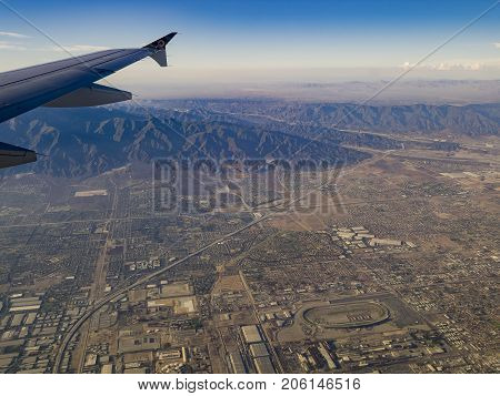 Aerial View Of San Bernardino Mountains, View From Window Seat In An Airplane