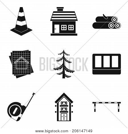 Material icons set. Simple set of 9 material vector icons for web isolated on white background