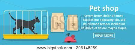 Pet shop banner horizontal concept. Flat illustration of pet shop banner horizontal vector concept for web design