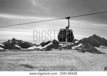 Black And White View On Gondola Ski-lift