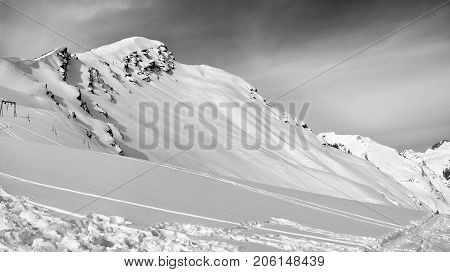 Black And White Panoramic View On Off-piste Slope