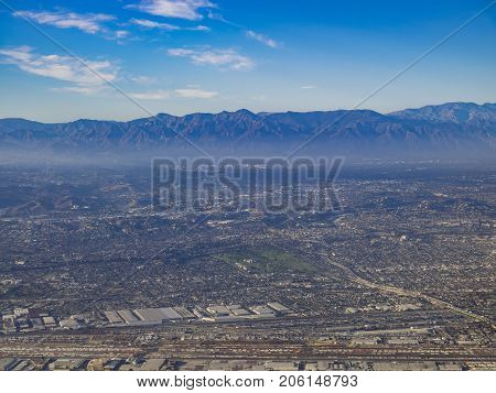 Aerial View Of East Los Angeles, Bandini, View From Window Seat In An Airplane