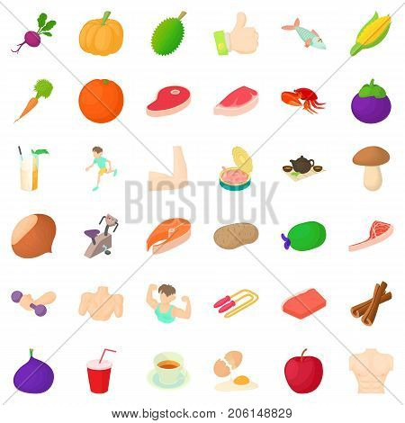 Slim icons set. Cartoon style of 36 slim vector icons for web isolated on white background
