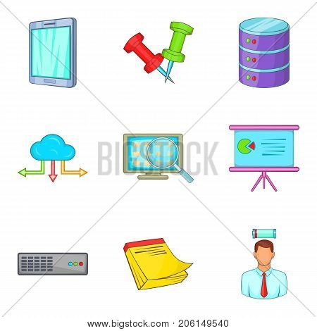 Setting specialist icons set. Cartoon set of 9 setting specialist vector icons for web isolated on white background poster