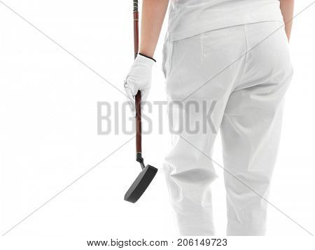 Woman holding golf club on white background