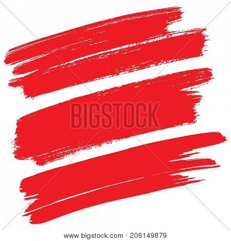 Red brush strokes isolated on the white background -- Raster illustration