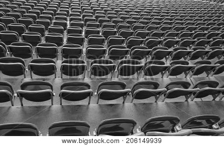 Reclining Chairs On The Stadium Bleachers With Nobody