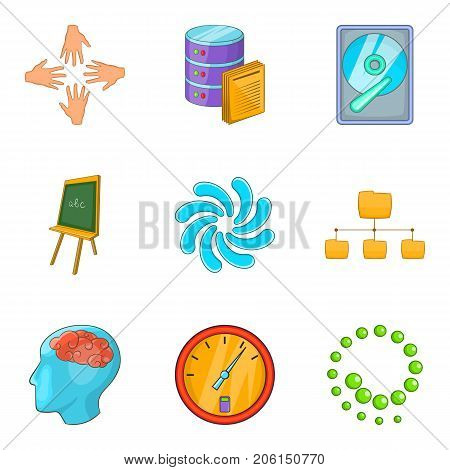 Press conference icons set. Cartoon set of 9 press conference vector icons for web isolated on white background