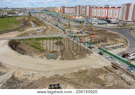 Tyumen Russia - June 1 2017: Construction of two-level outcome on bypass road on Fedyuninskogo and Permyakova streets intersection