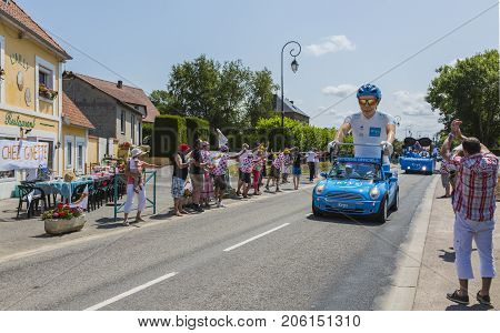 Sainte Marguerite sur Mer France - July 09 2015: Krys Caravan during the passing of Publicity Caravan before the stage 6 of Le Tour de France 2015 on 09 July 2015. Krys is an important chain of optical stores in France and sponsors the White Jersey.