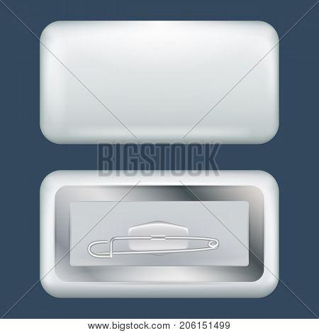 Rectangular badge mockup. Realistic illustration of rectangular badge vector mockup for web design