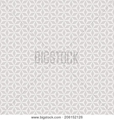 Seamless pattern in soft pastel colors, light grey and white. Linear mosaic background, floral grid. Simple abstract geometric ornament texture. Subtle design for decoration, prints. - Stock vector