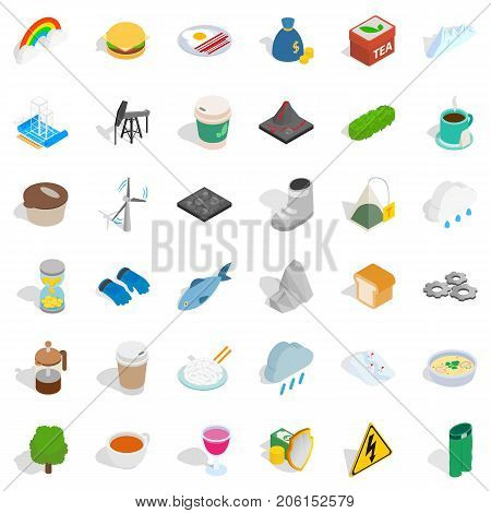 Hourglass icons set. Isometric style of 36 hourglass vector icons for web isolated on white background