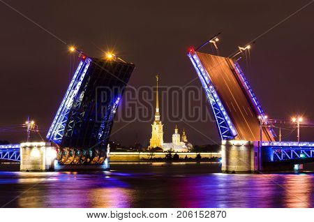 The Palace Bridge And The Peter And Paul Fortress At Night On The Neva River In Saint- Petersburg.