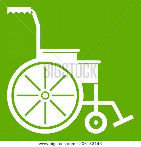 Wheelchair icon white isolated on green background. Vector illustration