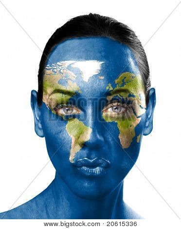 World map on beauty woman face
