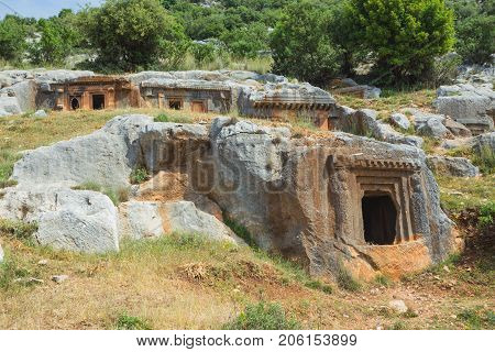 Ancient Antique Burial In Rocks In Demre. Turkey
