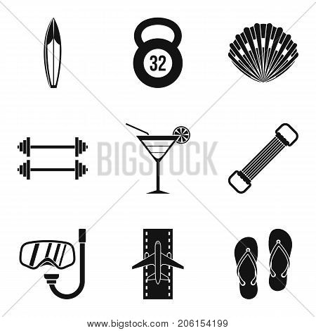 Luggage icons set. Simple set of 9 luggage vector icons for web isolated on white background