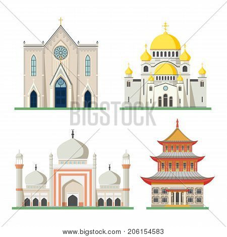 Set of religious buildings like muslim mosque, buddhist temple or chinese, japan, india pagoda, christian orthodox church with dome and catholic pray or worship sanctuary. Religion and God theme