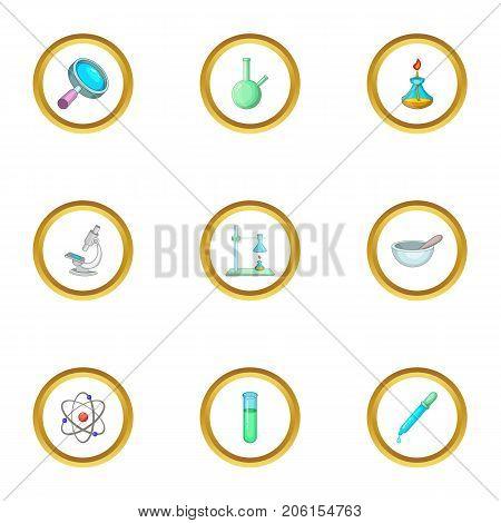 Chemistry science icons set. Cartoon style set of 9 chemistry science vector icons for web design
