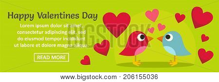 Happy Valentines Day banner horizontal concept. Flat illustration of happy Valentines Day banner horizontal vector concept for web design